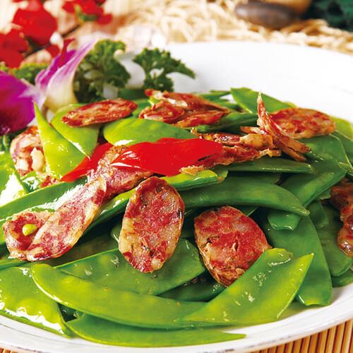 五花肉炒甜豆