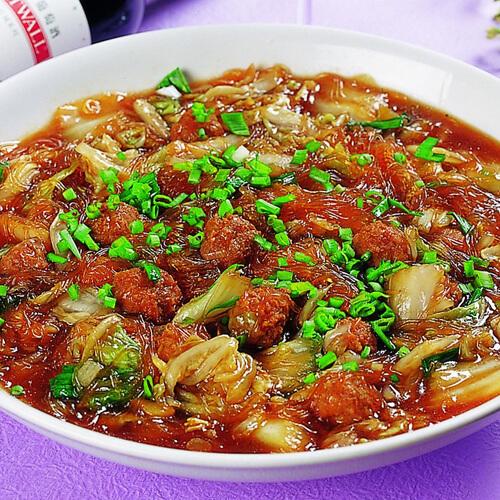 肉丝豆腐粉丝烩大白菜