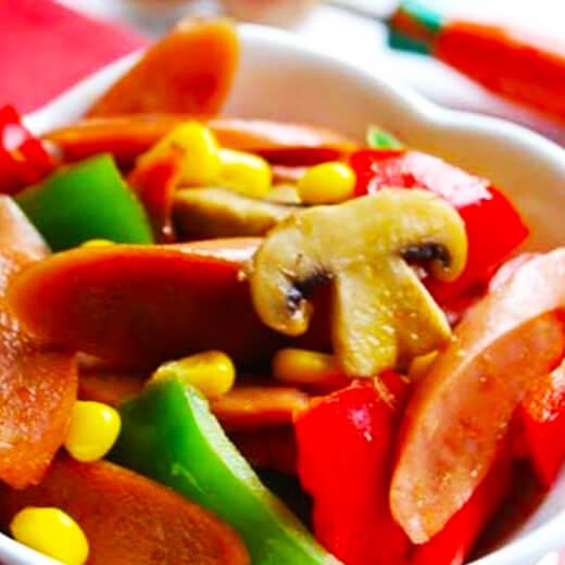 玉米肠炒豆渣