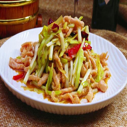 韭黄肉片炒潮式枧水面