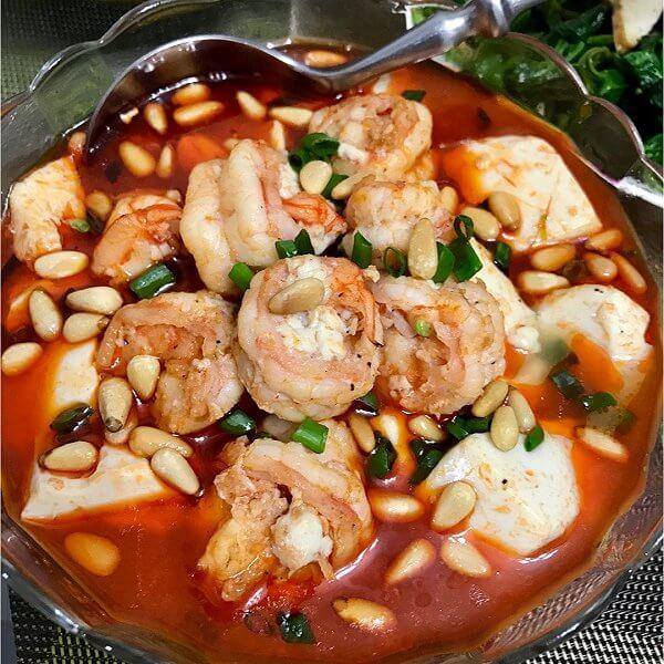 虾仁豆腐大骨白菜汤