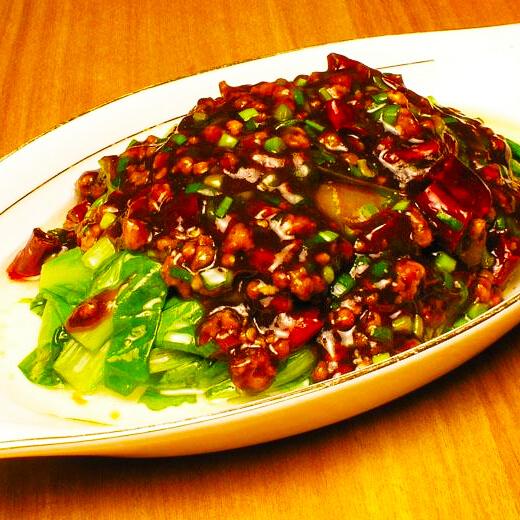 蒜泥肉末油麦菜
