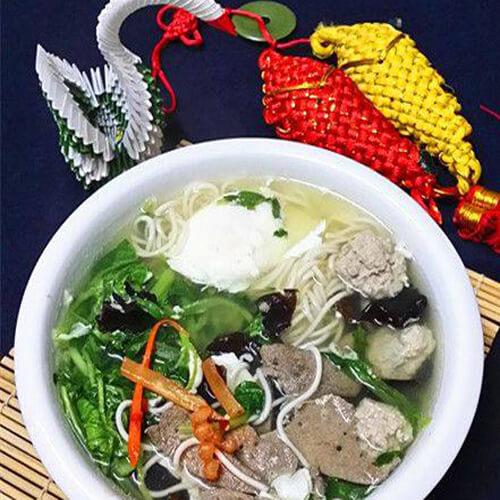肉圆猪肝青菜小煮面
