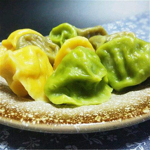 彩色馒头五彩水饺