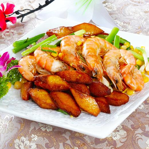 香辣花菜土豆虾