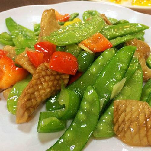 八爪鱼瘦肉炒荷兰豆