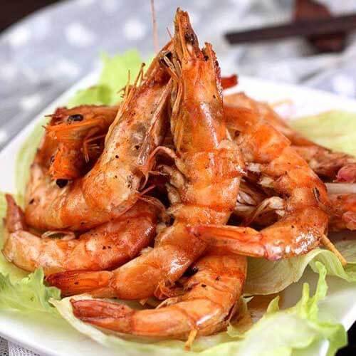 色香味浓的黑椒汁烤虾