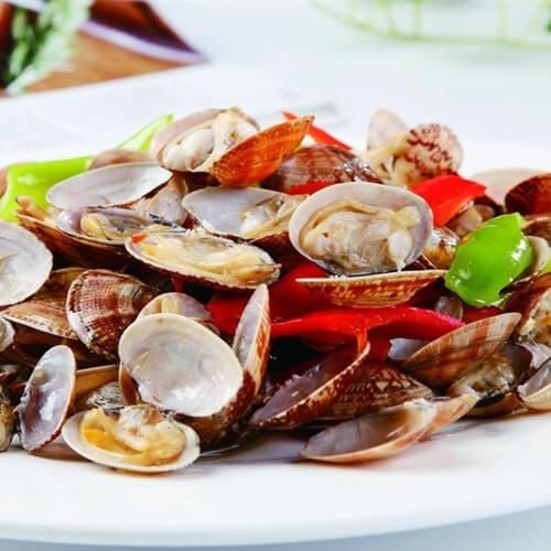 酒香干豆腐炒花蛤