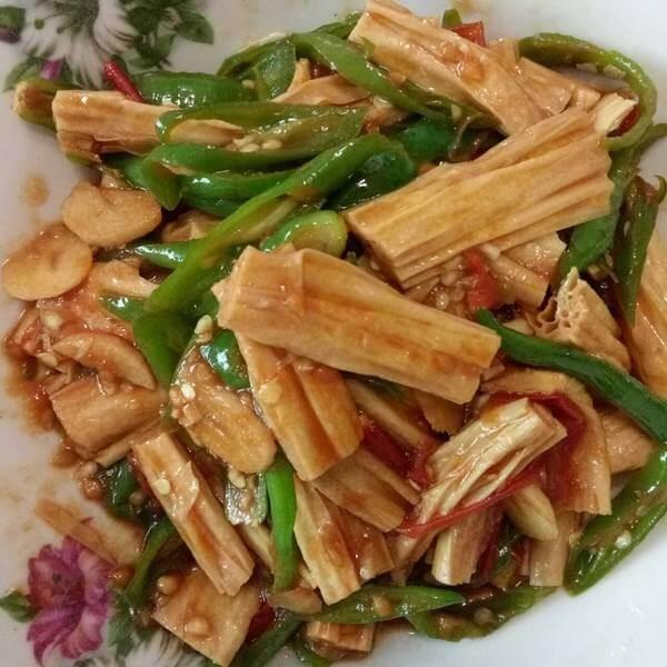 小油菜炒腐竹