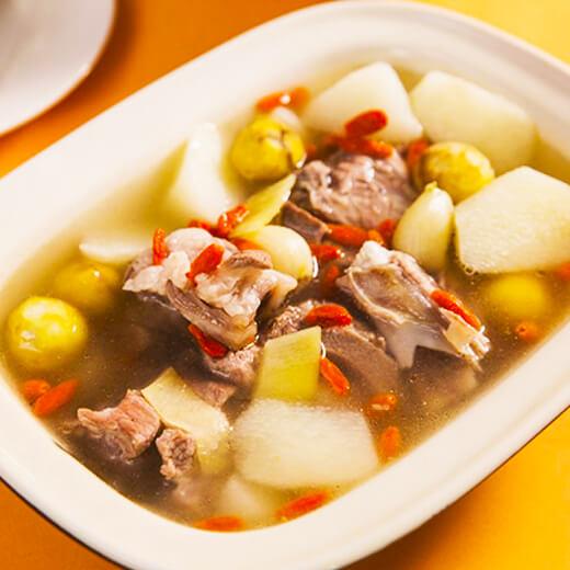 美味青菜腊鸡腿排骨汤