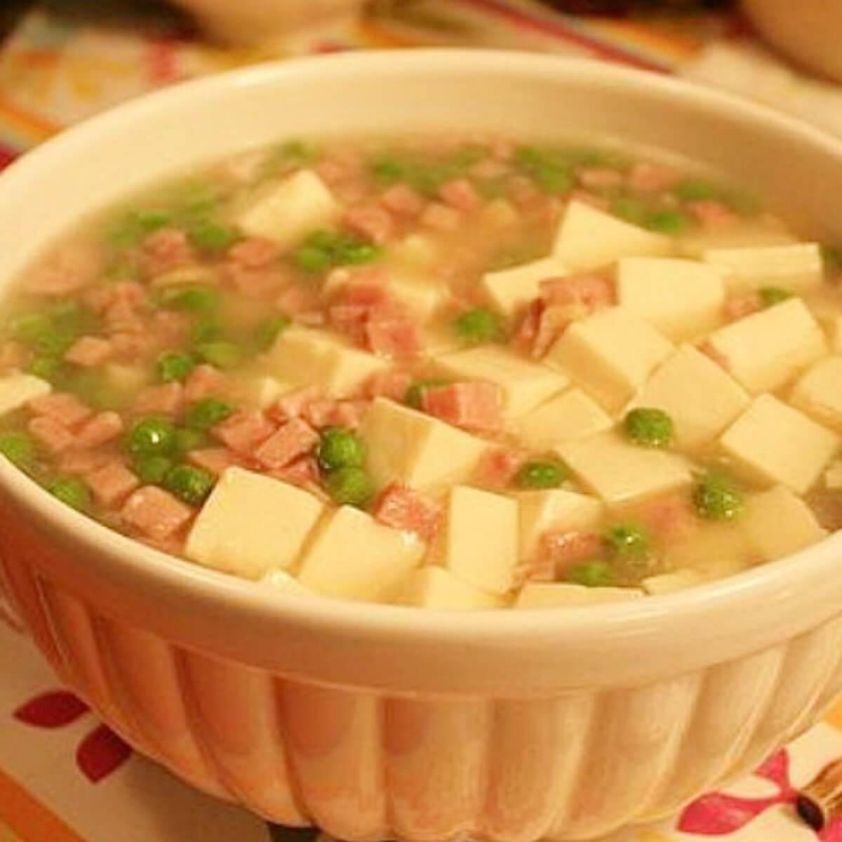 昙花火腿肠汤