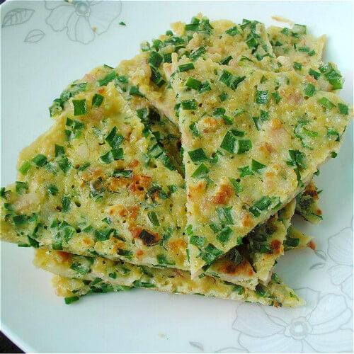 好吃的韭菜米饭饼