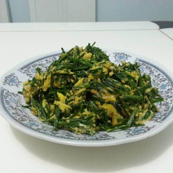 美味鸡蛋虾皮炒韭菜