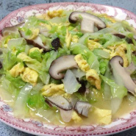 大白菜香菇炒肉片