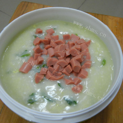 生菜肉丝鸡蛋粥