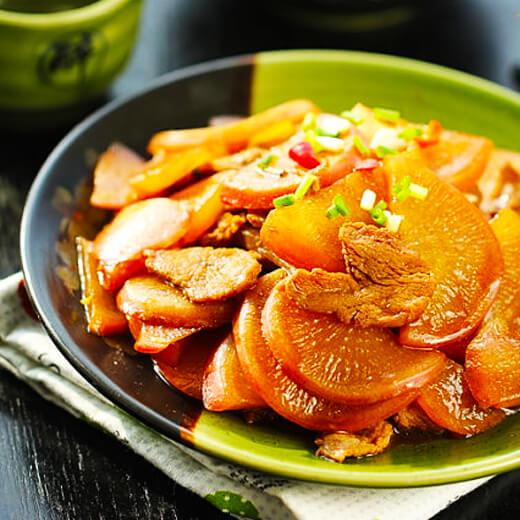 羊肉烧红白萝卜