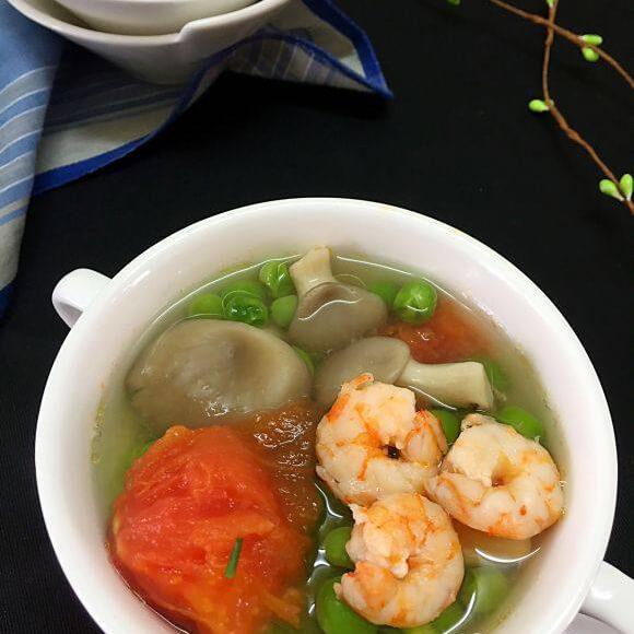 虾仁蘑菇豌豆汤