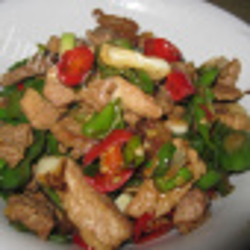 青椒榨菜炒肉卷