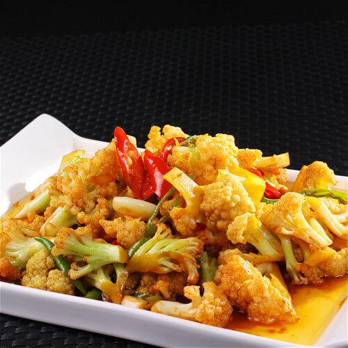 黄心菜素炒花菜