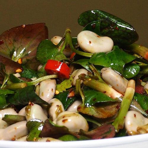 牛皮菜拌胡豆
