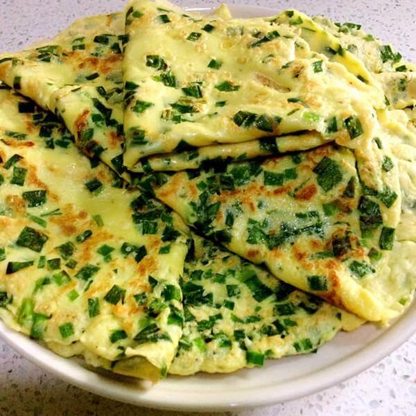 韭菜虾米鸡蛋饼