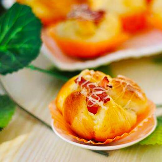 【手工美食】培根芝士面包