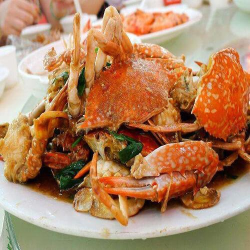 美味的葱姜炒螃蟹