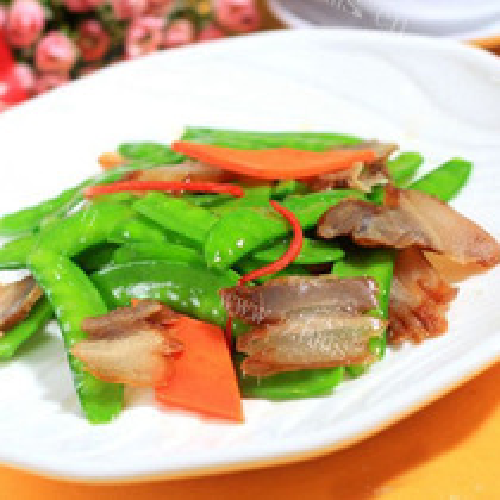 兰豆冬菇炒腊肉