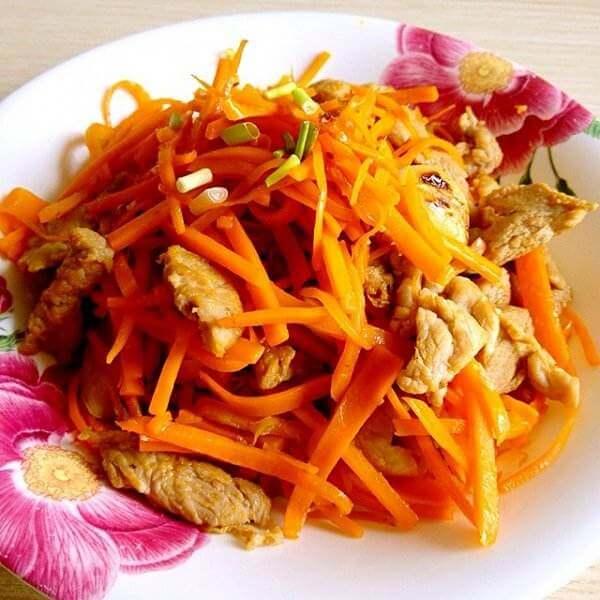 西洋菜胡萝卜炒肉丝