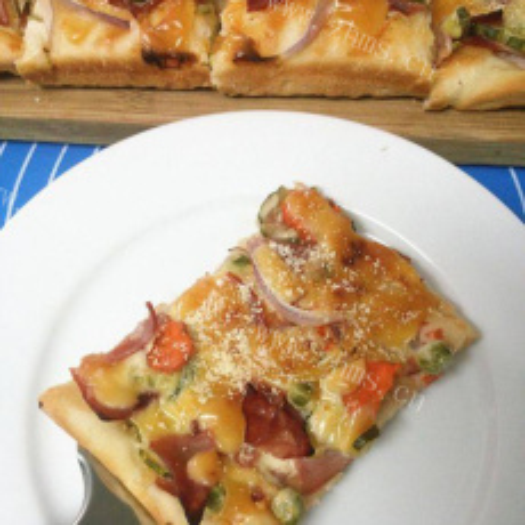 #回忆#火腿蔬菜披萨