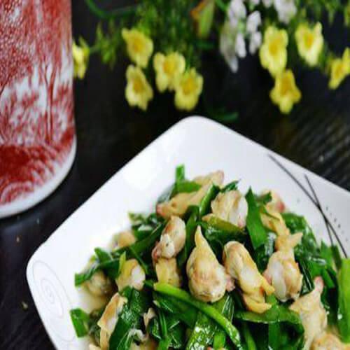 香喷喷白蛤蜊炒韭菜