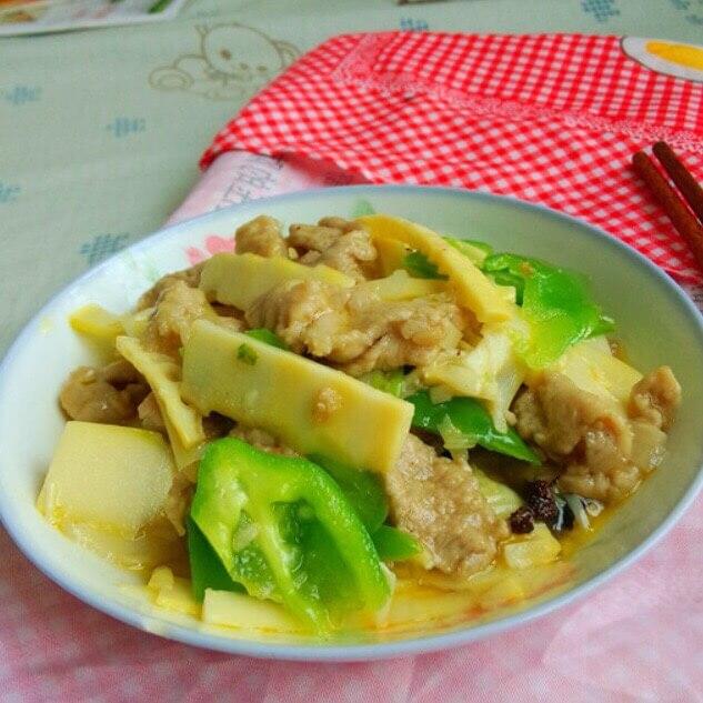 豆角笋片炒肉丝