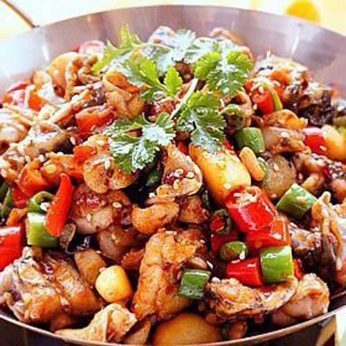 美味的龙虾料烧土豆片