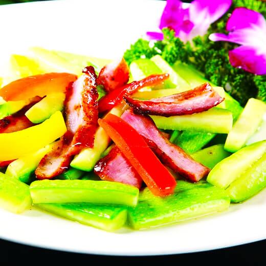 西葫芦肉丝炒青菜