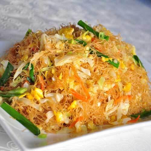 火腿油菜炒米粉
