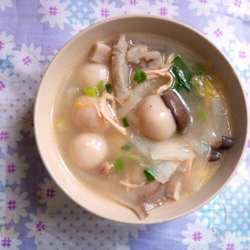 鸡菇肉丝汤