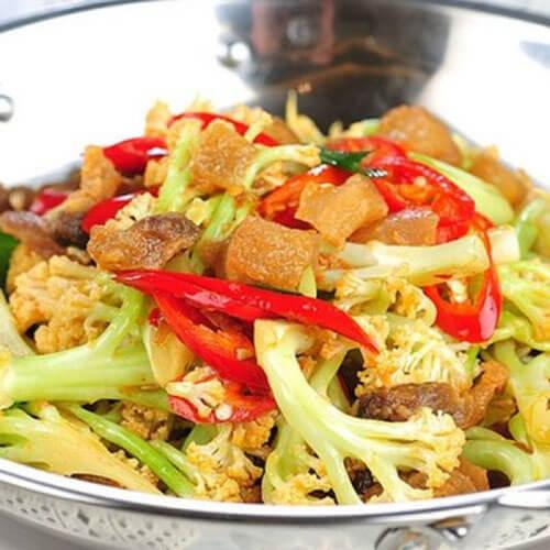 猪油渣炒花菜