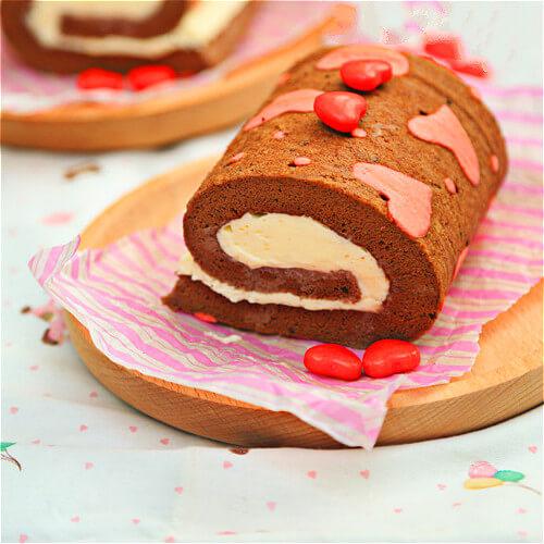 爱心巧克力蛋糕卷