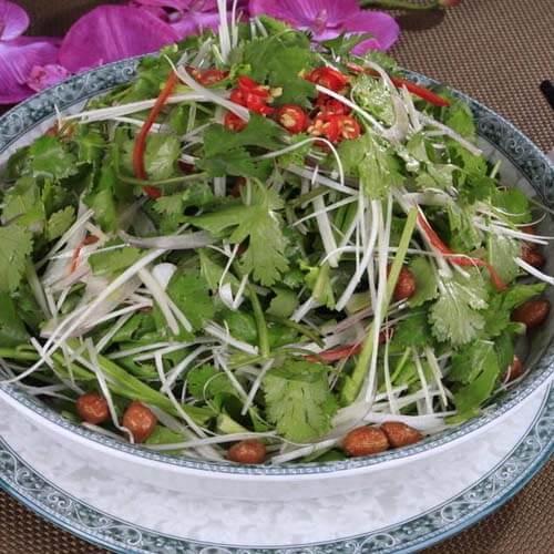 虾皮拌老虎菜