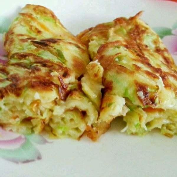 鸡蛋青菜煎饼