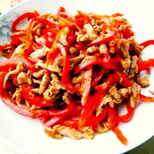 甜椒炒素肉