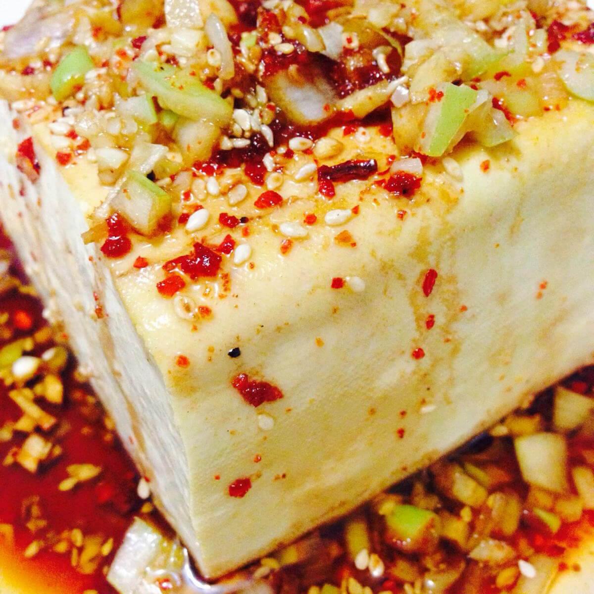 油泼嫩豆腐