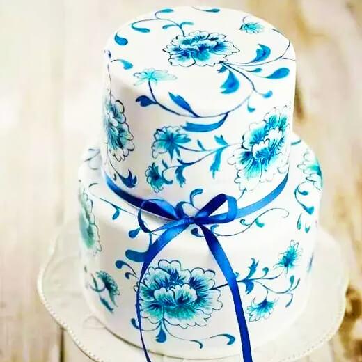 旗袍青花瓷蛋糕