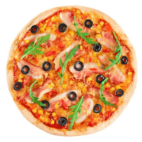 美味的培根面包片披萨