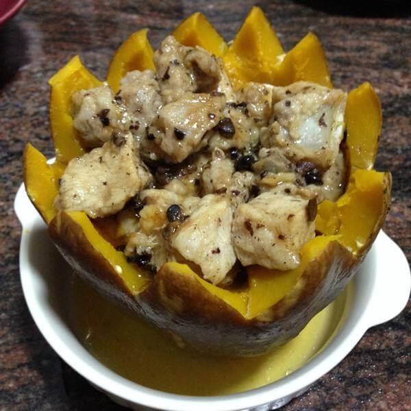 美味的豆豉排骨蒸南瓜