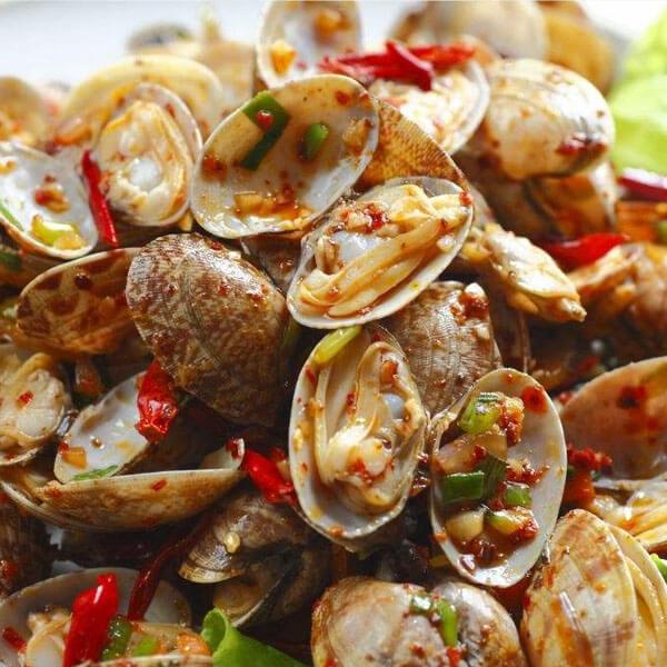 美味的辣炒花蛤