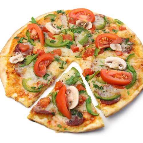 好吃的芝士大虾披萨