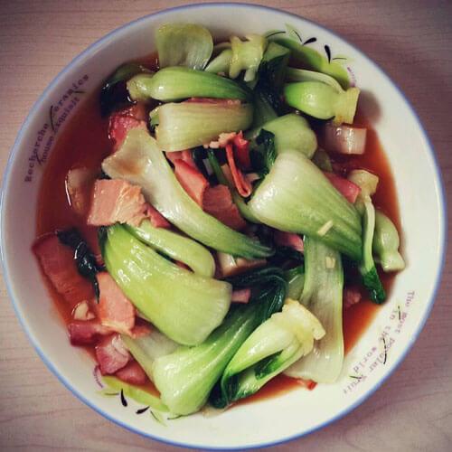 培根油面筋炒油菜蕻