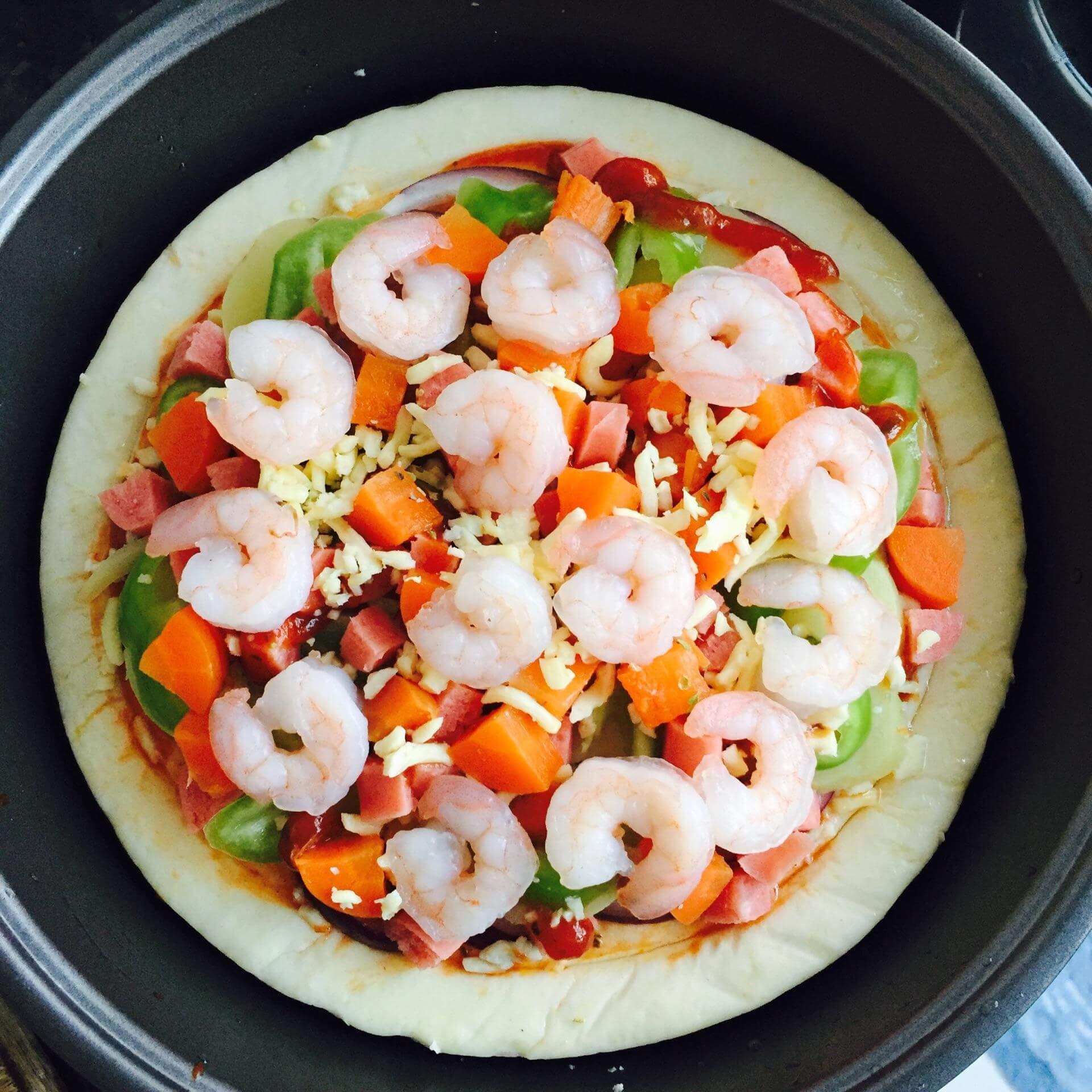鸡肉虾仁披萨