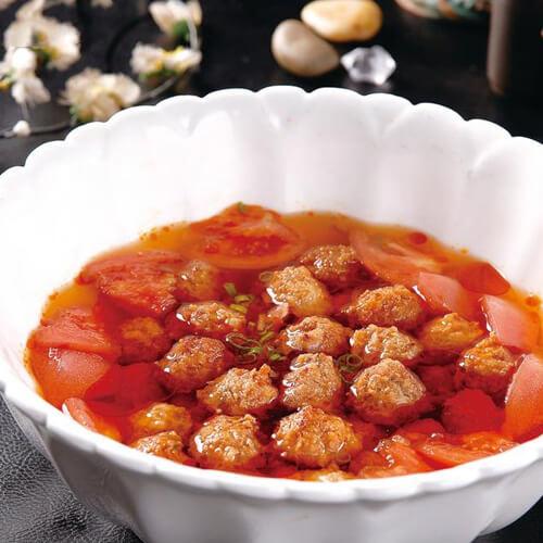 美味番茄烧鸡肉丸子